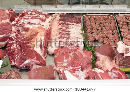meat in the butcher's shop