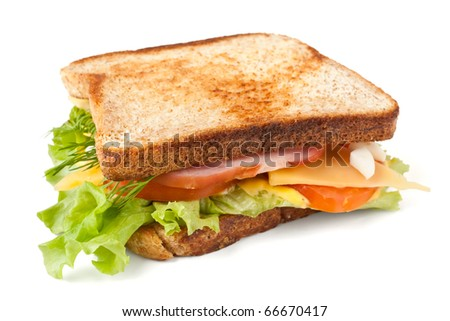 meat, lettuce , cheese and egg salad big sandwich on toasted bread - stock photo