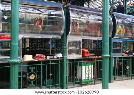 Meat Market in Brazil Fresh meat on display at an outdoor market, Belem Brazil. - stock photo