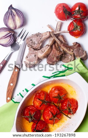 meat of a lamb with vegetables - stock photo