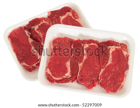 Meat packaging. Isolated.