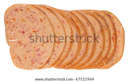 Meat packaging. Isolated - stock photo