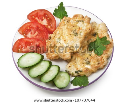 Meat pancakes with fresh vegetables - stock photo