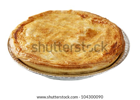 Meat pie in aluminium foil pie dish, isolated on white.
