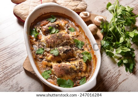 meat rolls with mushrooms sauce - stock photo