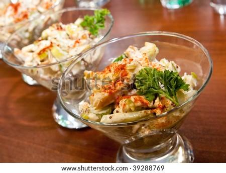 Meat salad - stock photo