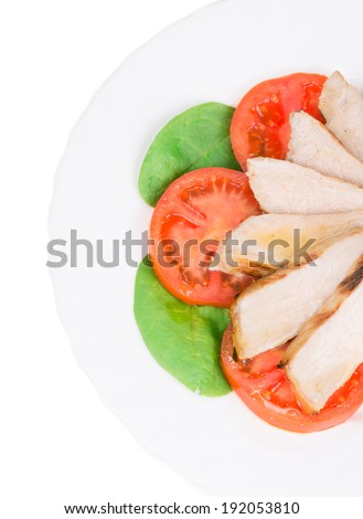 Meat salad with vegetables. Close up. Whole background.