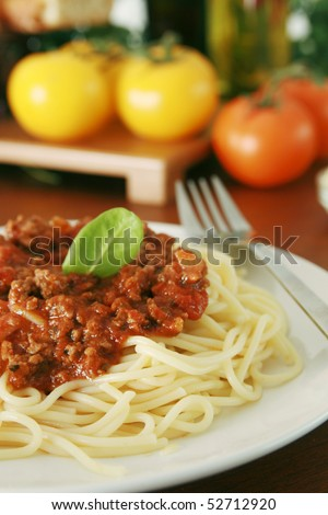 Meat sauce spaghetti - stock photo