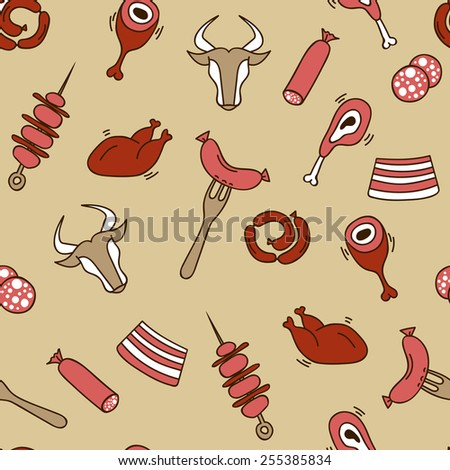 Meat seamless pattern with eat elements sausage, stake, shish kebabs, chicken, cutting, beef and pork.Illustration in doodle style. - stock photo