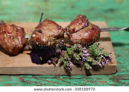 meat skewers on the barbecue coals - stock photo