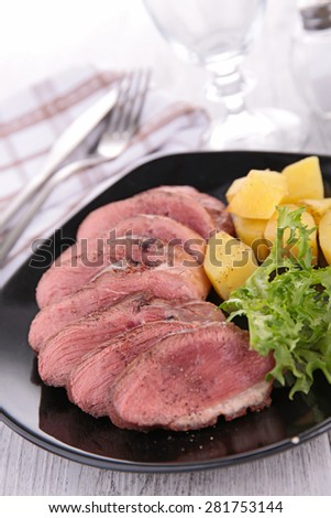 meat sliced and salad