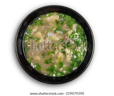 meat soup in the bowl on white - stock photo