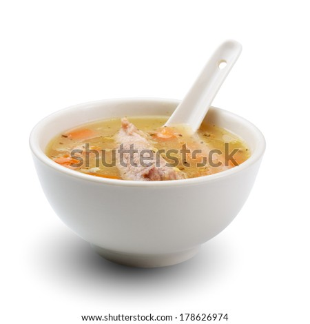 Meat soup isolated on white background - stock photo