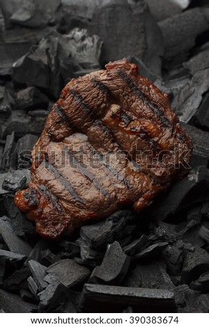 meat steak on coals
