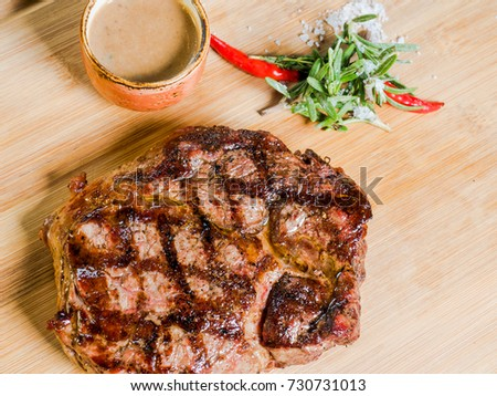 meat steak with blood of medium roast