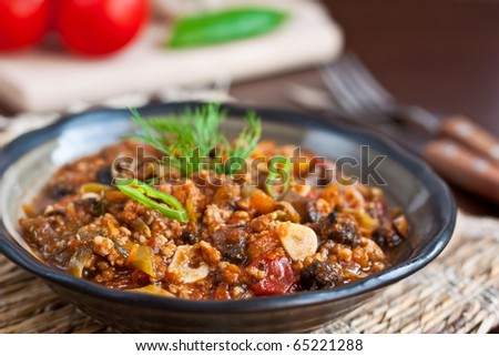 Meat stew in rustic arrangement