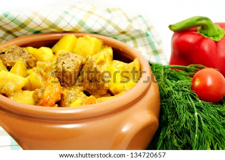 Meat stew with potato and vegetables
