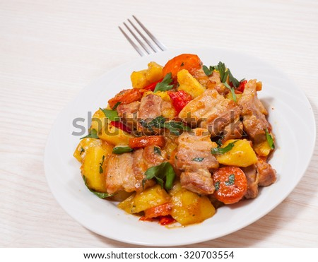 meat stew with potatoes and carrot