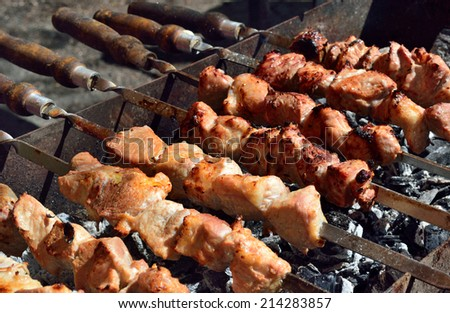 meat strung on skewers roasted on a brazier