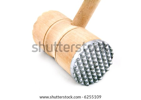 Meat tenderizer. Wooden meat hammer on white background.