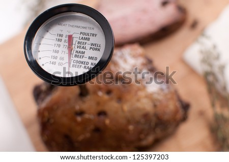 Meat thermometer in the meat closeup