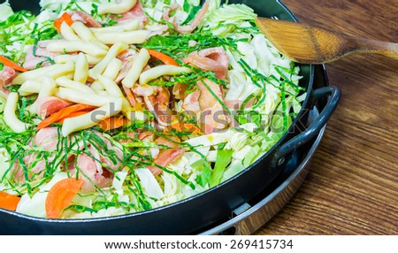 Meat vegetable stir-fry - stock photo
