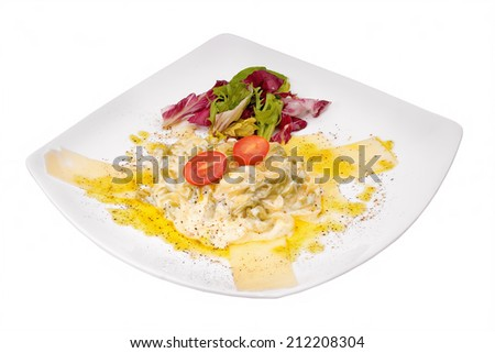 Meat with egg and green salad - stock photo
