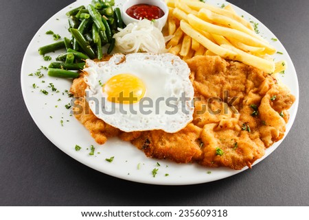 meat with french fries - stock photo