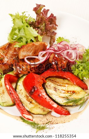 meat with grilled vegetables