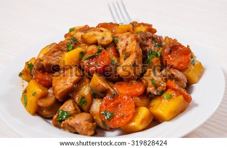 meat with mushrooms and vegetables