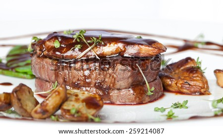Meat with potetos on a white plate