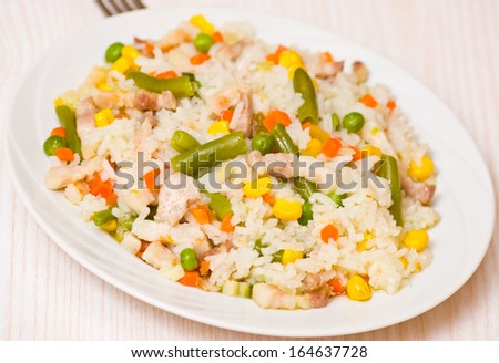 meat with Rice and vegetables