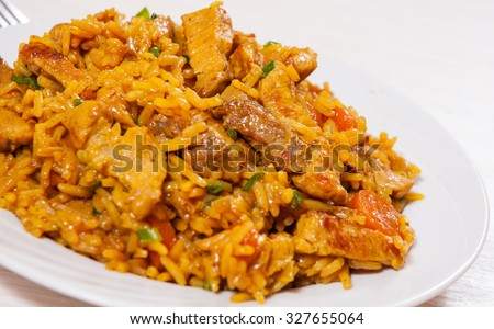 meat with rice and vegetables - stock photo