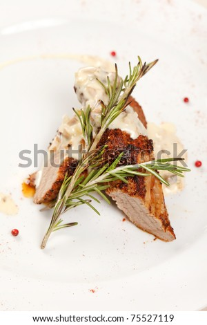 meat with sauce - stock photo
