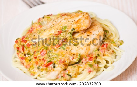 meat with spaghetti and vegetable sauce