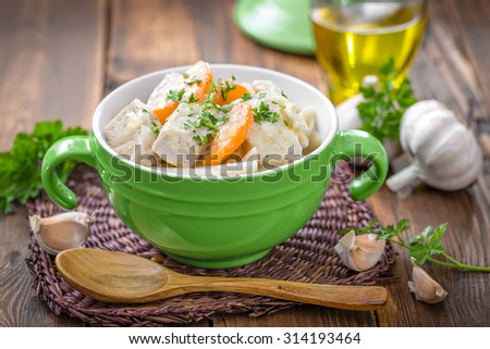 meat with vegetables and pasta - stock photo
