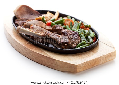 Meat with Vegetables Pan - stock photo