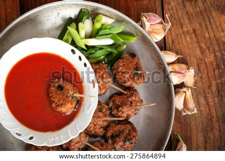 Meatball Appetizers - top view - stock photo
