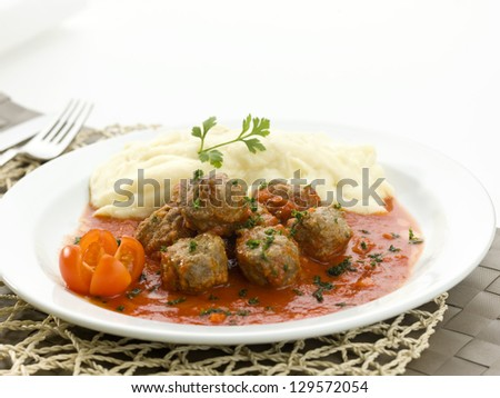 meatballs and mashed potatoes - stock photo