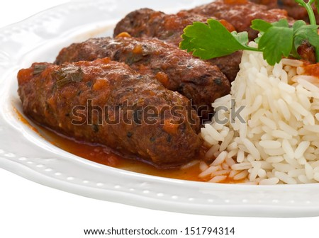 meatballs and rice with tomato sauce - close up - stock photo
