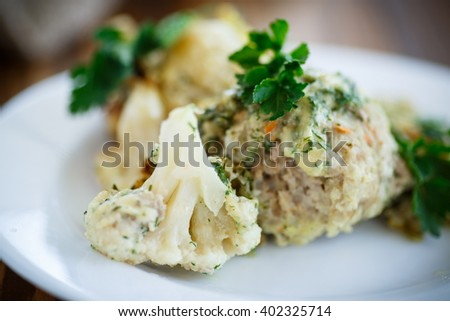 meatballs baked with cauliflower  - stock photo