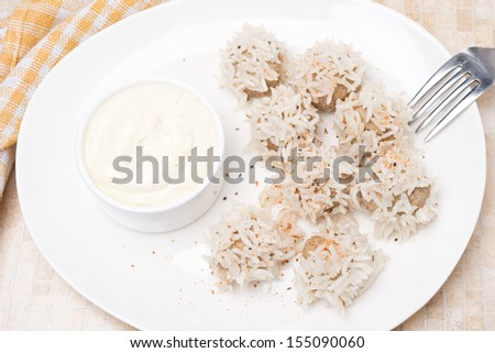 meatballs of beef with white rice and yogurt sauce, top view, horizontal
