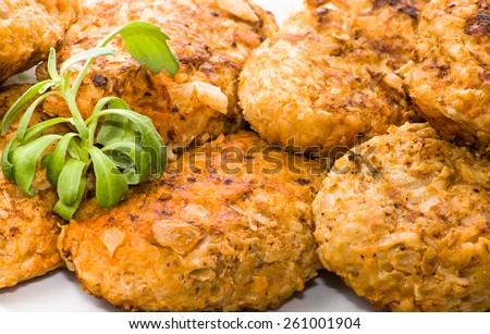 Meatballs on a plate, closeup useful as background - stock photo