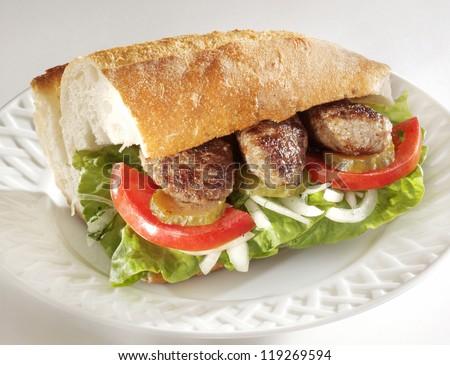 meatballs with bread - stock photo
