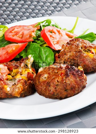 Meatballs with corn and cheese