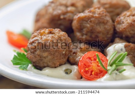 Meatballs with sauce and fresh tomatoes - stock photo