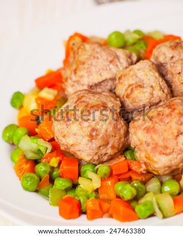 meatballs with vegetables - stock photo