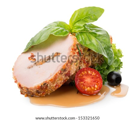 Meatloaf with vegetables and greens isolated on white - stock photo