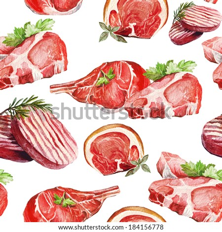 Meats. Food pattern, painted watercolor manually.