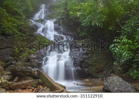 Meayai waterfall the beautiful nature at Khowsok national park, Suratthani, Thailand - stock photo